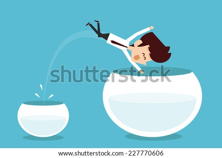 Man jumping out of smaller fishbowl  - stock vector