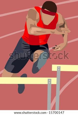 man jumping over hurdle - stock vector
