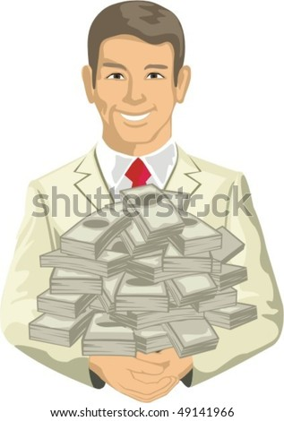 man keeps in hand heap money