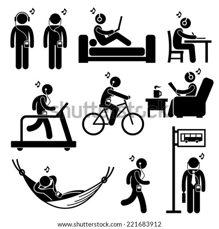 Man Listening to Music with Earphone Headphone Stick Figure Pictogram Icons - stock vector