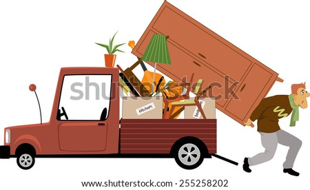 Man loading a truck with furniture, vector illustration - stock vector
