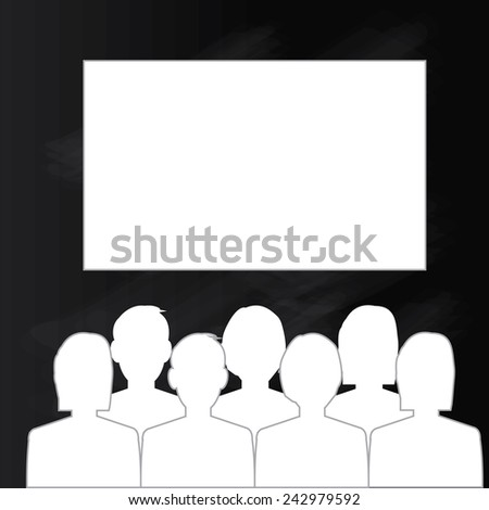 man look at the cinema or movies icon vector,theater icon vector, chalkboard - stock vector
