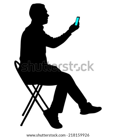 Man looking at his cellphone, vector  - stock vector