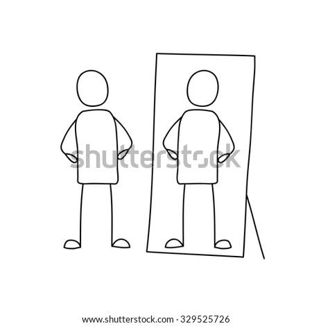 man looking in mirror drawing. man looking reflection in mirror. mirror drawing