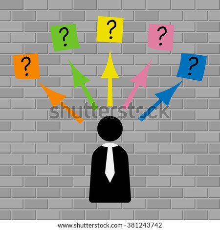 Man looks at the question marks written on adhesive notes stuck to a brick wall - stock vector