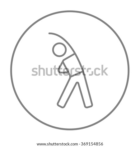 Man making exercises line icon. - stock vector