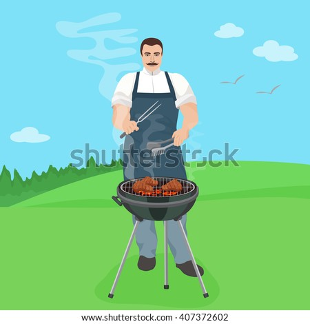 Man male cook preparing meal on the grill. Barbecue in nature yard vector illustration.