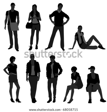 Man Male Woman Female Fashion Shopping Model - stock vector