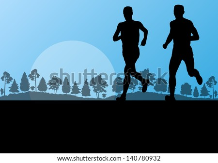 Man marathon runners in wild forest nature countryside landscape background illustration vector - stock vector