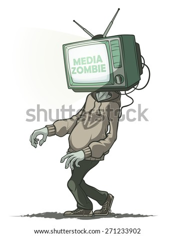 Man Media zombie with retro tv instead of the head. Isolated