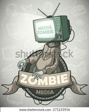 Man Media zombie with retro tv instead of the head. Label.  Against the background of the objects associated with the mass media