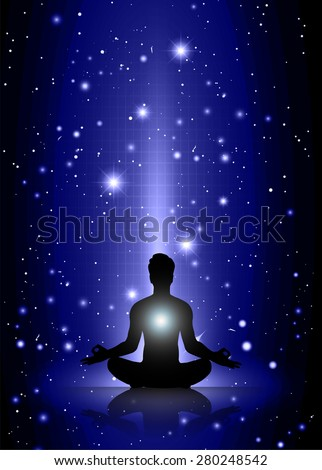 man meditate, yoga. on dark blue sky background. star - stock vector