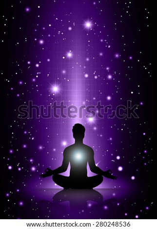 man meditate, yoga. on purple sky background. star - stock vector