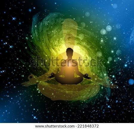 man meditate, yoga. on star galaxy background. - stock vector