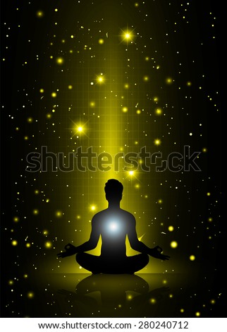 man meditate, yoga. on yellow sky background. star - stock vector