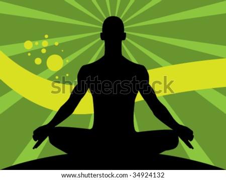 Man meditating - stock vector