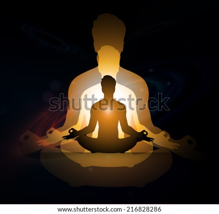 man meditation Dark sparkling background with stars in the sky and blurry lights, illustration.  Abstract, Universe, Galaxies, yoga. - stock vector