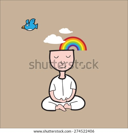 Man meditation for peace and nature - stock vector