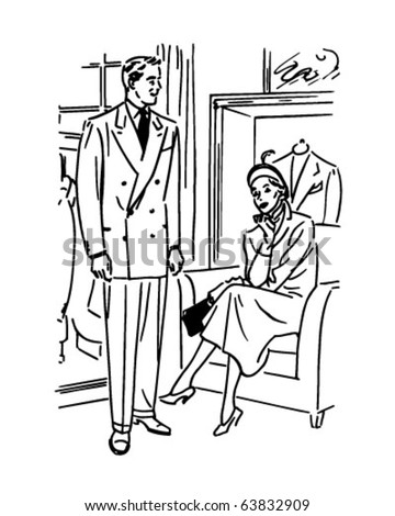 Man Modeling Suit - Retro Clipart Illustration - stock vector