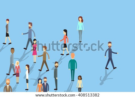 Man Move Stand Out From Crowd Individual Business People Flat Vector Illustration - stock vector
