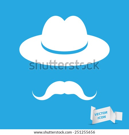 man mustache icon - white hat with mustache isolated on a blue background - stock vector