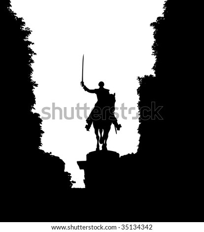 Man on a horse waving with his sword.
