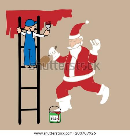 Man on ladder painting Santa on wall - stock vector