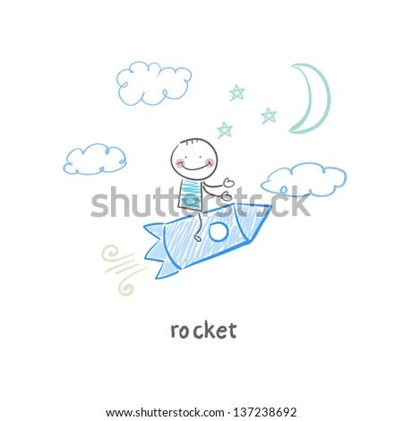 man on rocket - stock vector