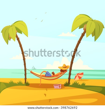 Man on the beach background with hammock hat radio and palms cartoon vector illustration   - stock vector
