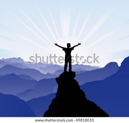 Man on the top of the rock - stock vector