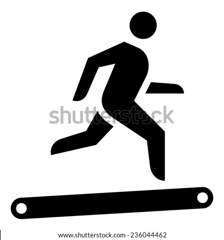 Man on treadmill icon - stock vector