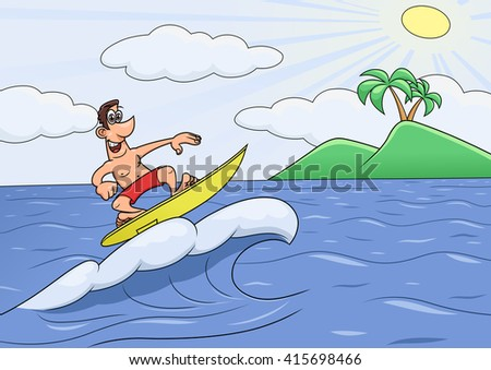 Man on vocation is surfing  - stock vector