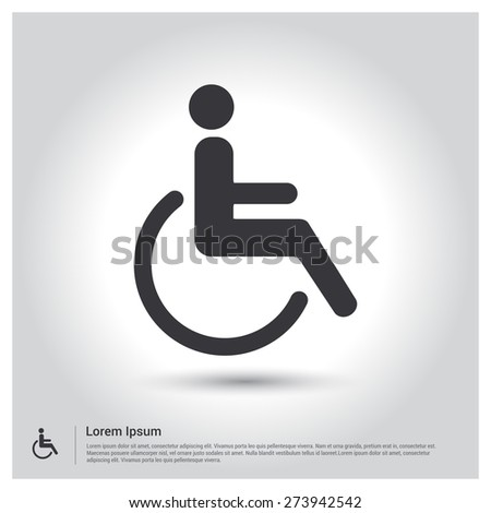Man on wheelchair, disabled person Icon, pictograph icon on gray background. Vector illustration for web site, mobile application. Simple flat metro design style. Outline Icon. Flat design style - stock vector