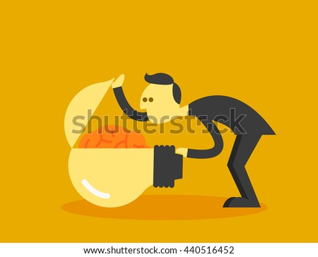 man open brain - stock vector