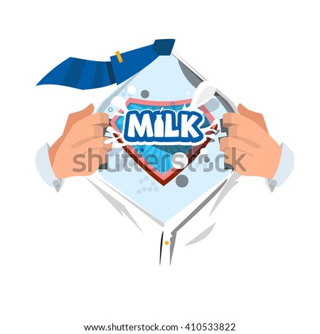 """Man open shirt to show """"Milk"""" typographic in comic style - vector illustration - stock vector"""