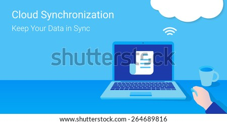 Man opened a document from synchronized cloud server. Cloud synchronization. - stock vector