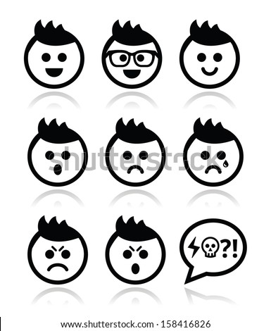 Man or boy with spiky hair faces icons set - stock vector