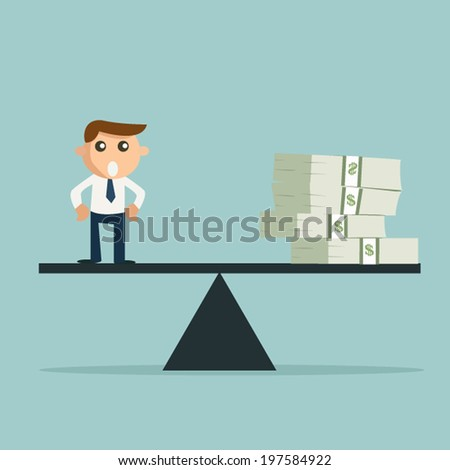 Man or money on the scale. - stock vector