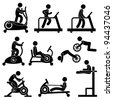 Man People Athletic Gym Gymnasium Fitness Exercise Healthy Training Workout Sign Symbol Pictogram Icon - stock photo
