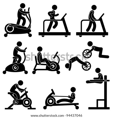 Man People Athletic Gym Gymnasium Fitness Exercise Healthy Training Workout Sign Symbol Pictogram Icon - stock vector