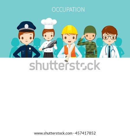 Man, People With Different Occupations Set On Banner, Profession, Avatar, Worker, Job, Duty - stock vector