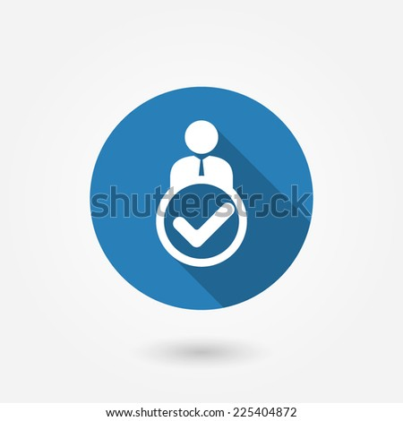 Man, person with check mark in box. Flat design style with long shadow - stock vector