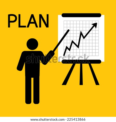 man plan for business on yellow background vector : business concept - stock vector
