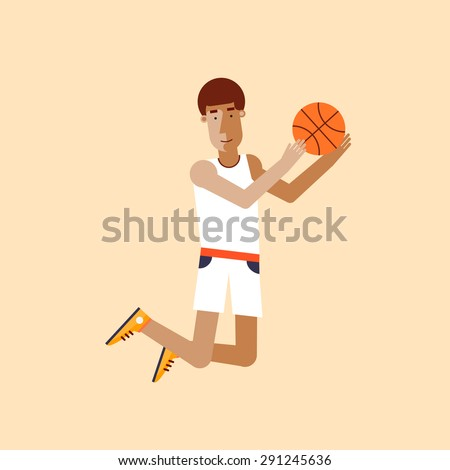 Man playing basketball. Sport competitions. Flat design vector illustration. - stock vector