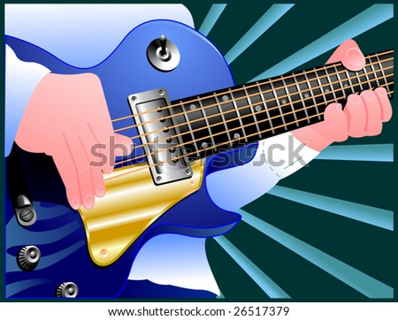 Man playing electrical guitar. Vector illustration - stock vector