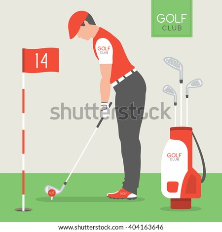 Man playing golf  - stock vector
