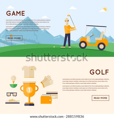 Man playing golf mountains in the background. Cup winner and icons around. 2 banners. Flat style vector illustration. - stock vector