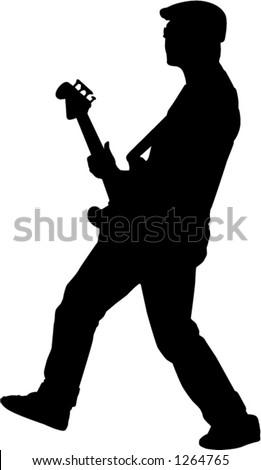 man playing guitar - stock vector