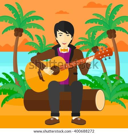 Man playing guitar. - stock vector