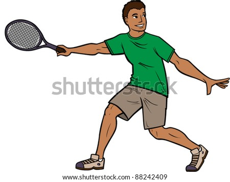 Man Playing Tennis - stock vector